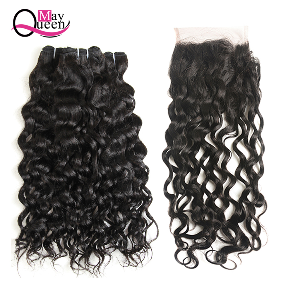 May Queen Brazilian Lace Closure Water Wave Bundles With Closure 4*4 Free Part Natural Color Non Remy Human Hair Shipping Free