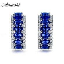 AINOUSHI 0.25 Oval Cut Blue Sona Earrings 925 Sterling Silver Women Girl's Love Earrings Wedding Engagement Anniversary Jewelry