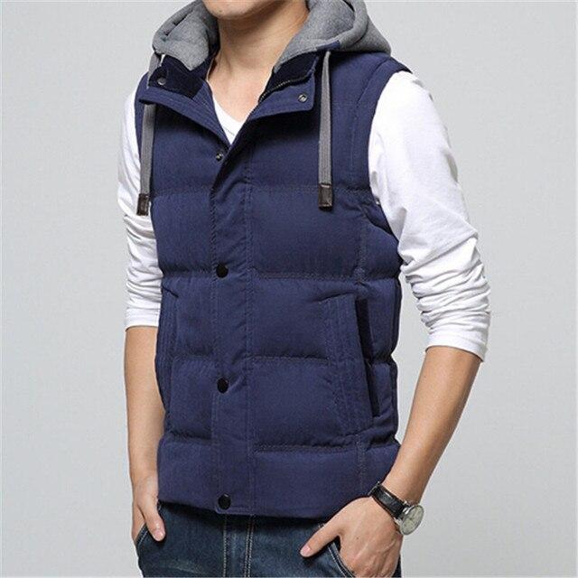 2016 New Casual Men Vest Men Cotton High Quality Waistcoat Hat Detachable Windbreak Winter Warm Khaki Men Vest 4XL 7 Colors
