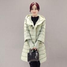 2016 fashion winter coat women medium-long hooded down jacket female spliced sleeves diamonds parka plus size thick outerwear