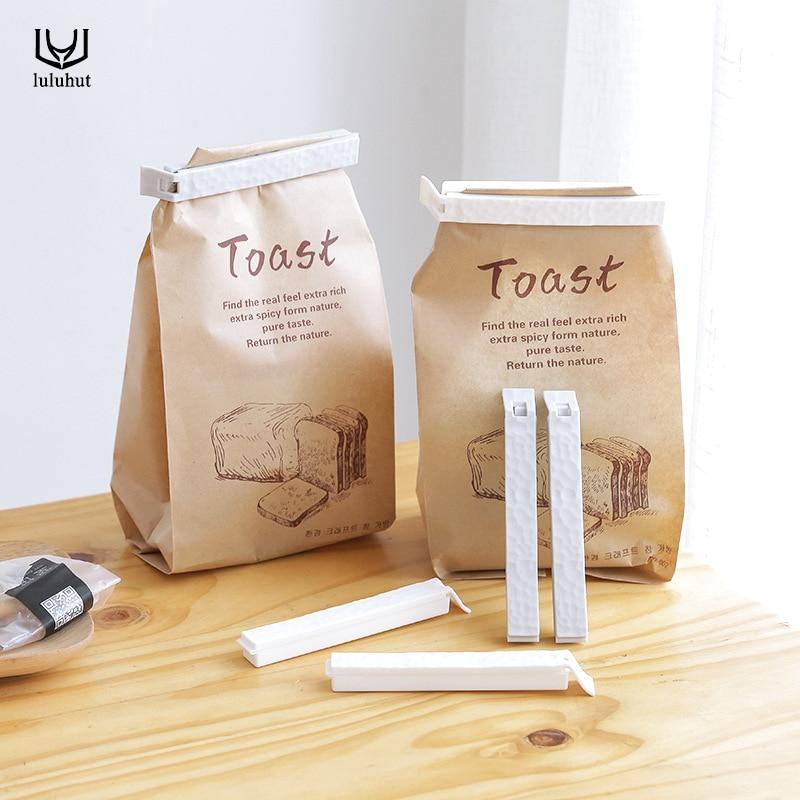 Luluhut 5pcs/lot Bag Clips Household Snack Plastic Bag Sealer Clip For Packages Kitchen Food Fresh Keeping Food Package Sealer