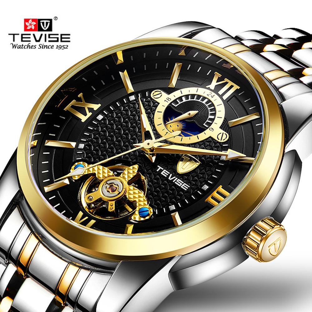 TEVISE Top Brand Luxury Tourbillon Men Automatic Mechanical Watches Golden Sport Self Winding Male Wrist Watch Relogio MasculinoTEVISE Top Brand Luxury Tourbillon Men Automatic Mechanical Watches Golden Sport Self Winding Male Wrist Watch Relogio Masculino