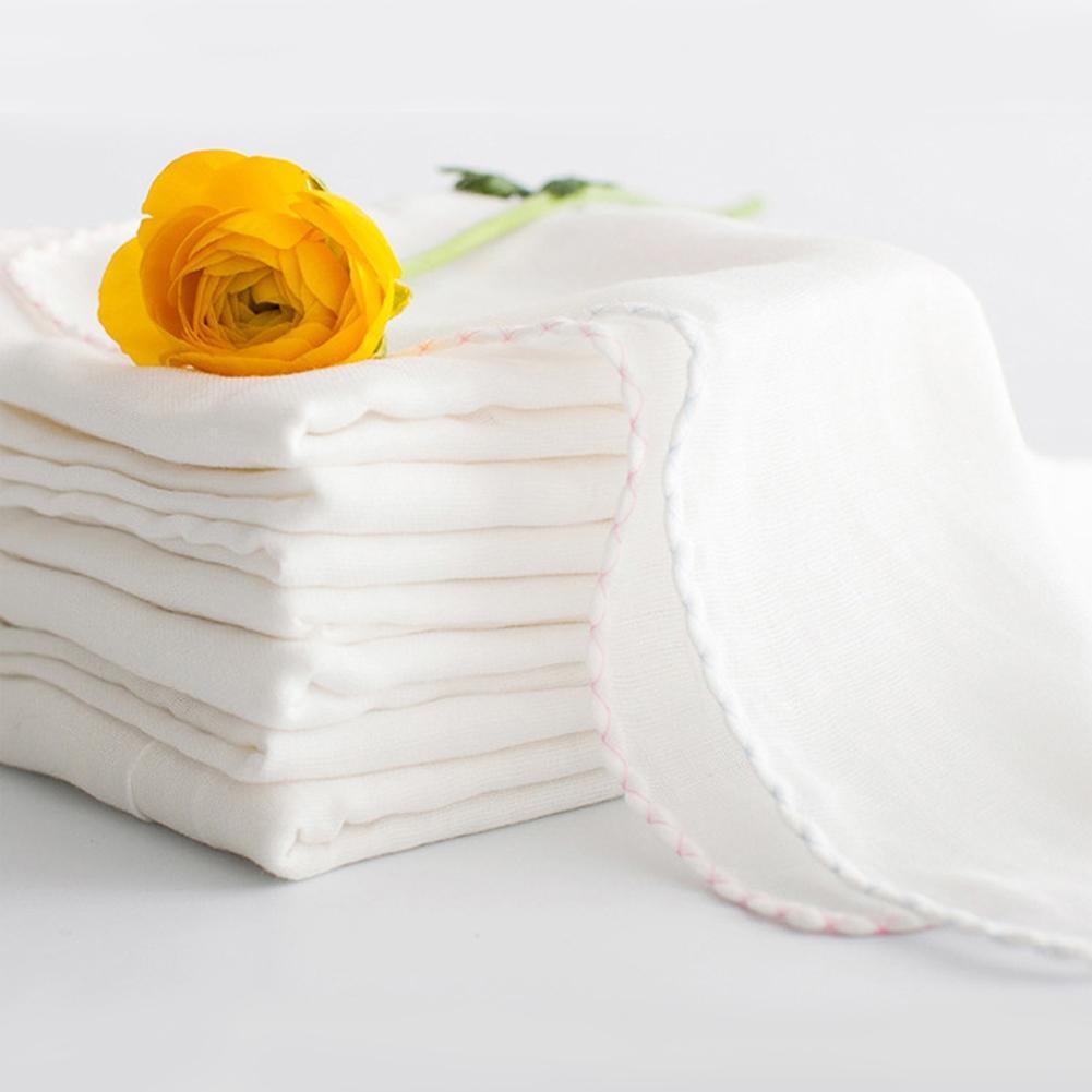 10 PCS 32*32 Purified Cotton Large Solid Color Gauze Handkerchief Nursing Towel Square Towel Bib Saliva Towel for Baby Random De