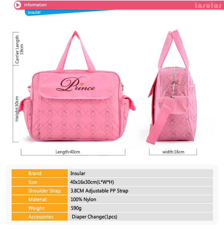 Pink Waterproof Portable Diaper Bag