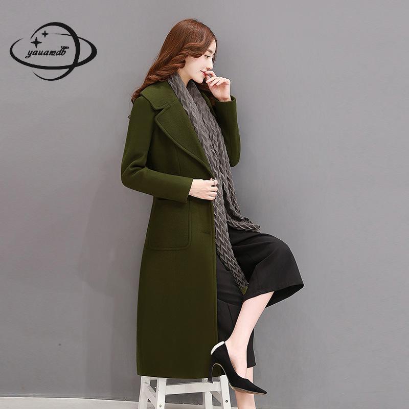 rouge M Unique Noir Yauamdb De Ly199 2xl vert Longue Casual Outwear Manteau Femelle Mode Mélanges Poitrine D'hiver Poche Femmes Picture Solide as Veste Laine PqpCtqgw