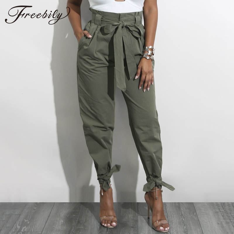 Casual High Waist Ankle Length Pants 2018 Hot Sale Women Elastic Tie Waist Trousers With Pockets Trousers Women Paper Bag Pants
