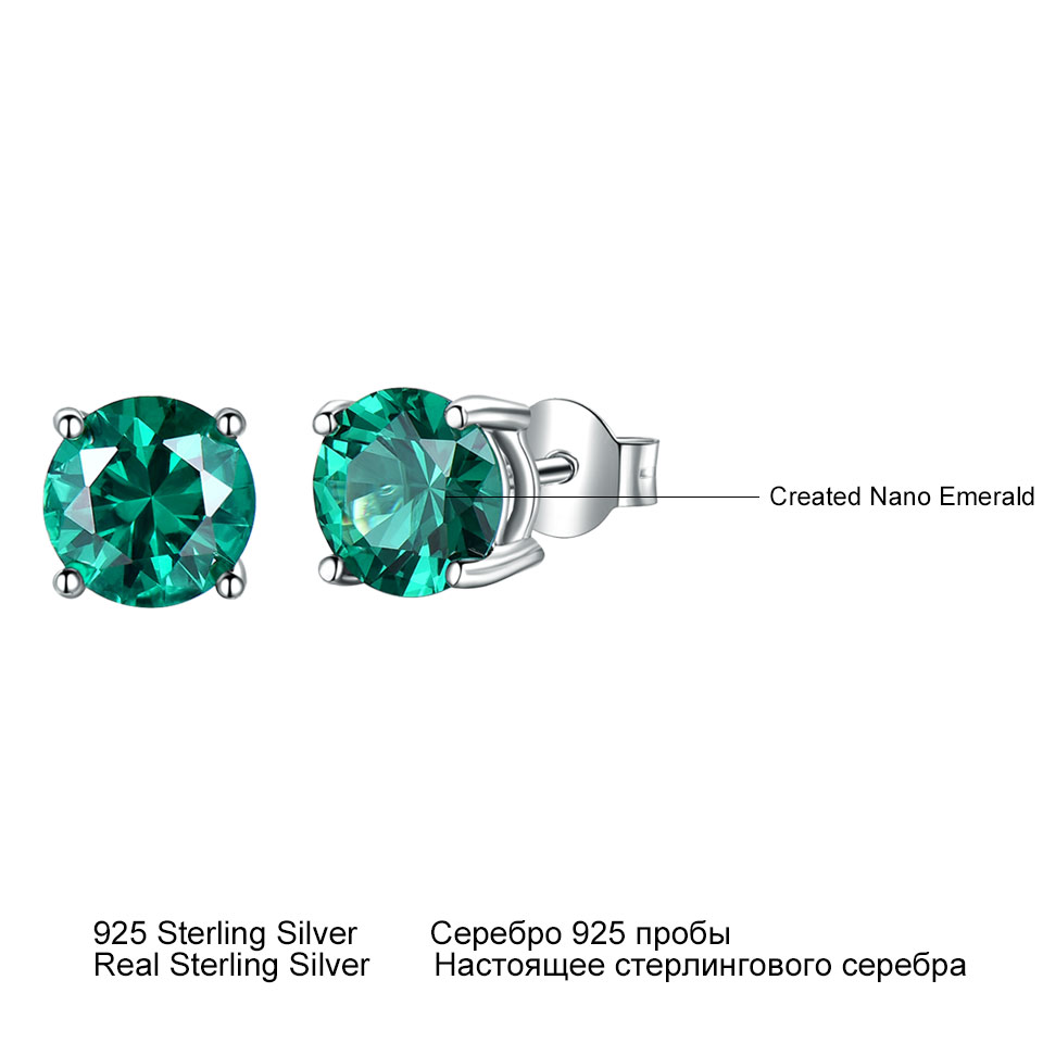 UMCHO Solid 925 Sterling Silver Jewelry Nano Emerald Gemstone Stud Earrings for Women Party Wedding Party Fashion Jewelry Gift