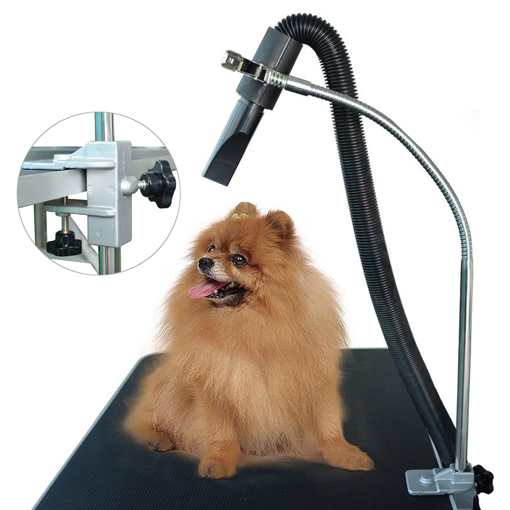 Dog Grooming Hair Dryers Shelf, Pets Bathing Beauty Mounting Bracket Clip,360 Degree Adjusted Metal Hose,Stainless Steel Bracket