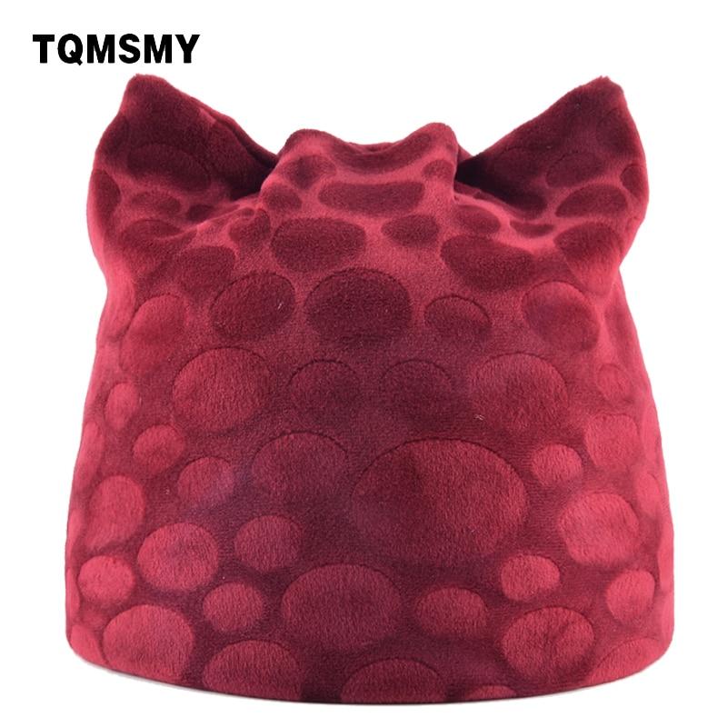 Tqmsmy 2018 جديد وصول الخريف الشتاء دائرة تصميم محبوك قبعات السيدات جميل القط الأذن بيني لطيف القبعات عارضة gorros TMDH08