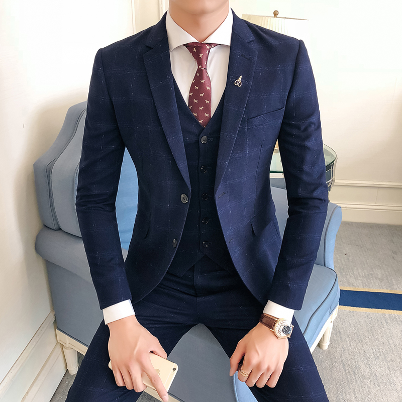 (Jacket+Vest+Pants) Mens Wedding Suit Male Plaid Blazers Slim Fit Men Suit Costume Business Formal Party Classic Pants Suit