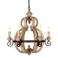 Rustic iron wooden chandelier interior 6 candle lights country loft decorative indoor lighting russia 2018 antique wood lamp