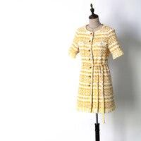 Для женщин модные желтые Твид платье с коротким рукавом однобортный с бахромой сдвиг платья Новинка 2018 на осень зиму