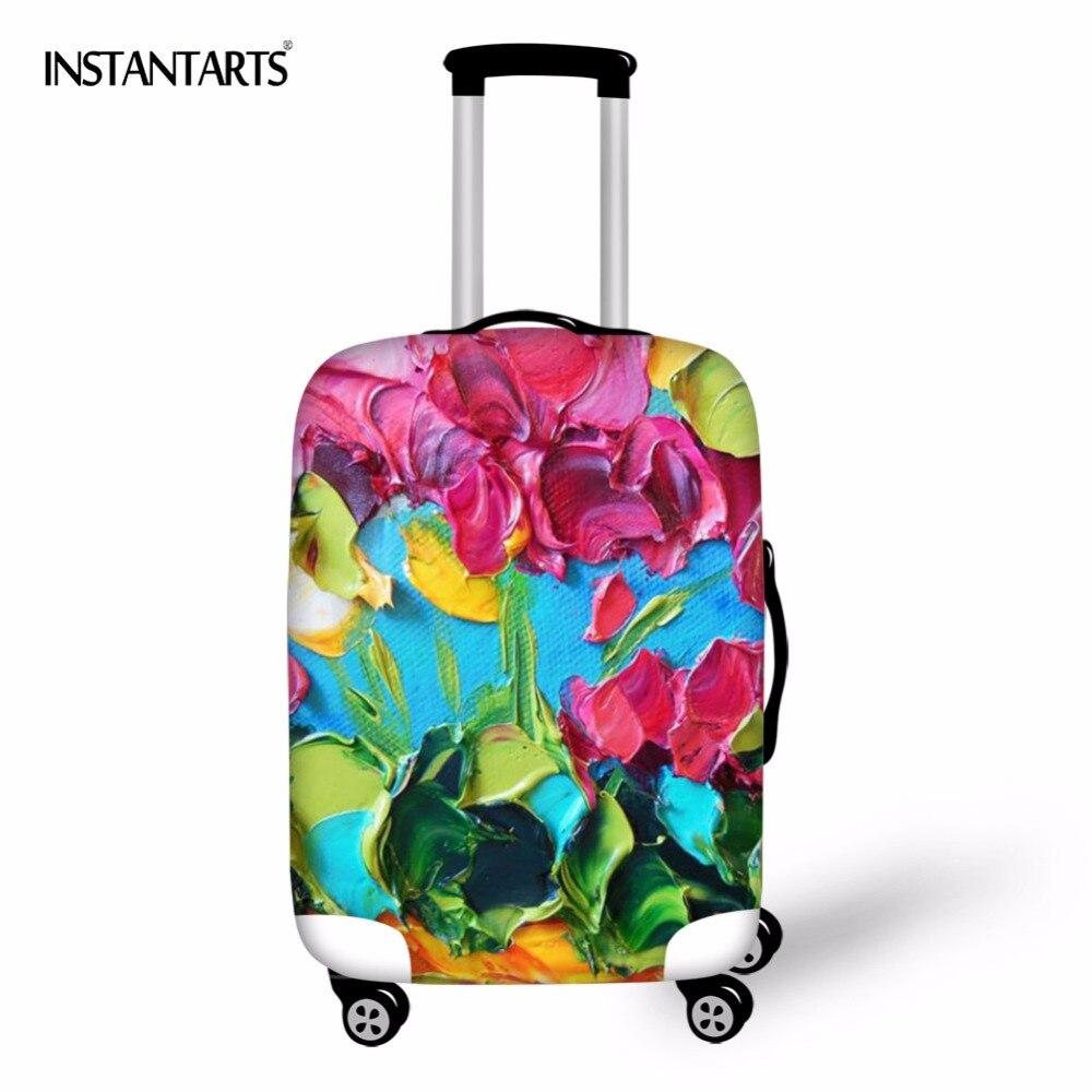 Instantarts живопись печати Чемодан пыле Чехлы для мангала для 18-30 дюймов чемодан Упругие цветы пыль дождевик Туристические товары