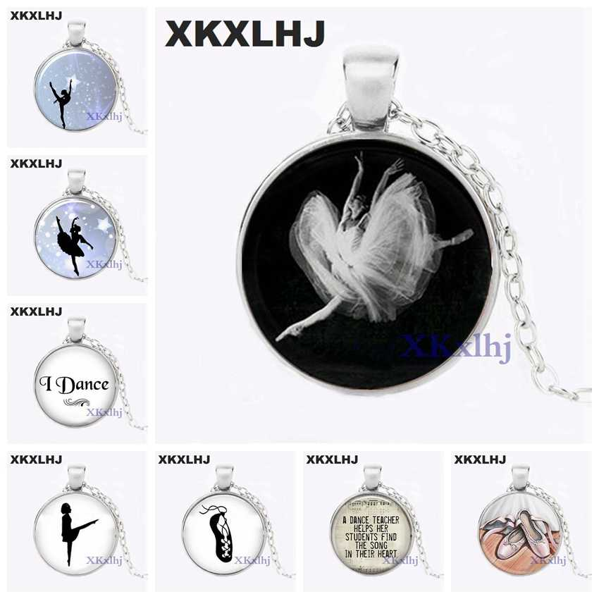XKXLHJ Wholesale Art Glass Pendant Dancing Ballerina Pendant Ballerina Glass Dome Pendant Girls Glass Cabochon Necklace