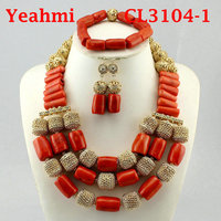 Fashion Jewelry Set African Coral Beads Exclusive Real Coral Pendant Bridal Necklace Set Copper Gold Accessory Free Ship