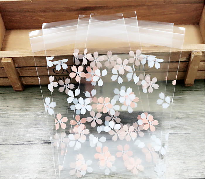 100pcs Pink White Cherry Blossoms Cookie Packing Bags Self Adhesive Seal Small Cello Bags For Gift Party Favor Package