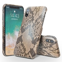 QIALINO Luxury Custom built Python Skin Genuine Leather Back Cover for iPhone X Ultra Thin Phone Case for iPhone X for 5.8 inch
