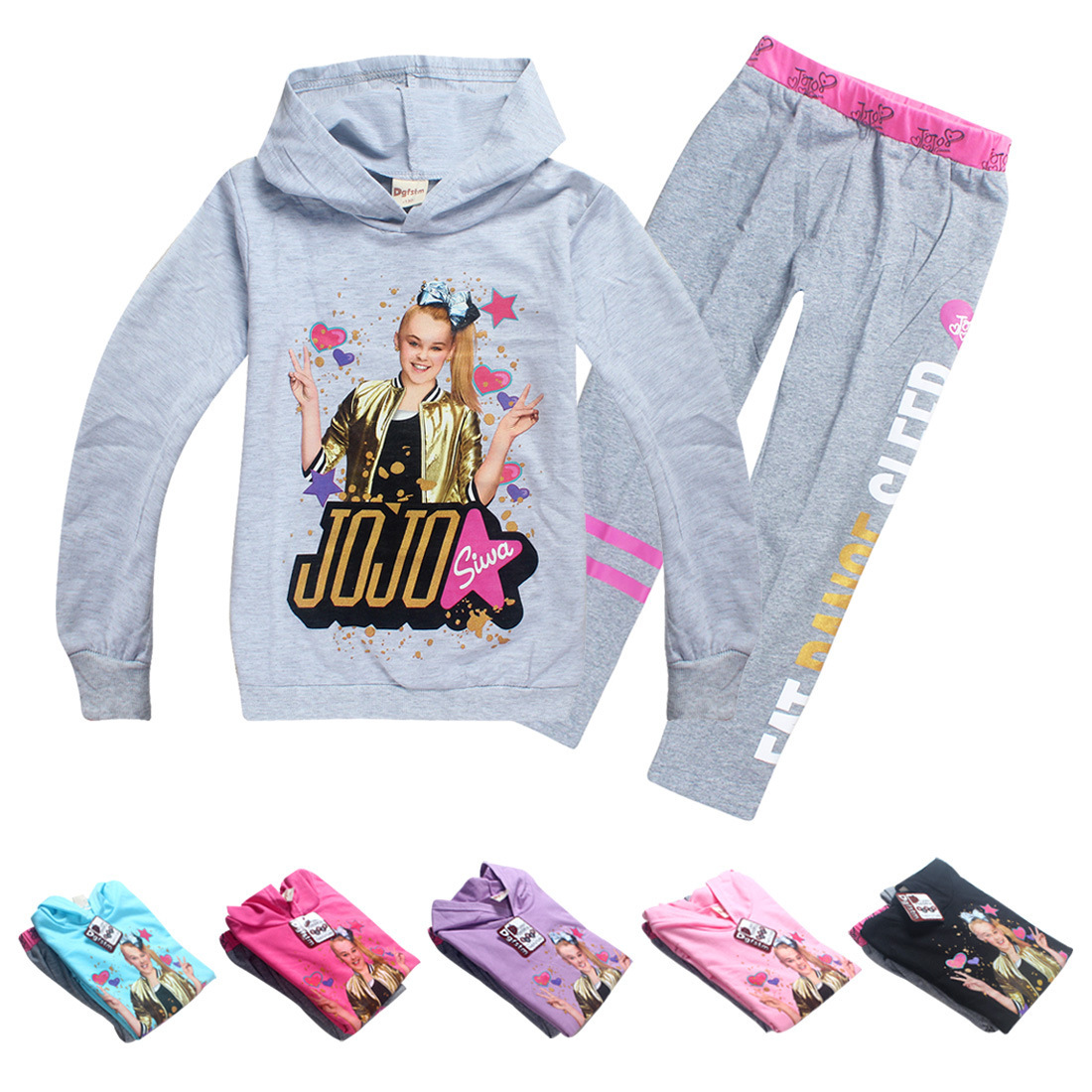 4-12Y kids clothes cartoon jojo siwa print hoodie