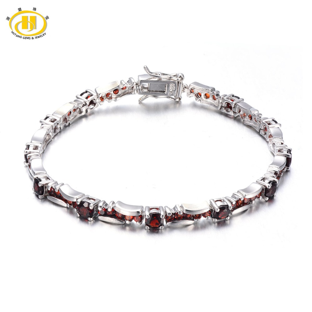 Hutang 7.45Ct Natural Garnet Solid 925 Sterling Silver Link Bracelet For Women Gemstone Fine Stone Jewelry Birthday Gift 7