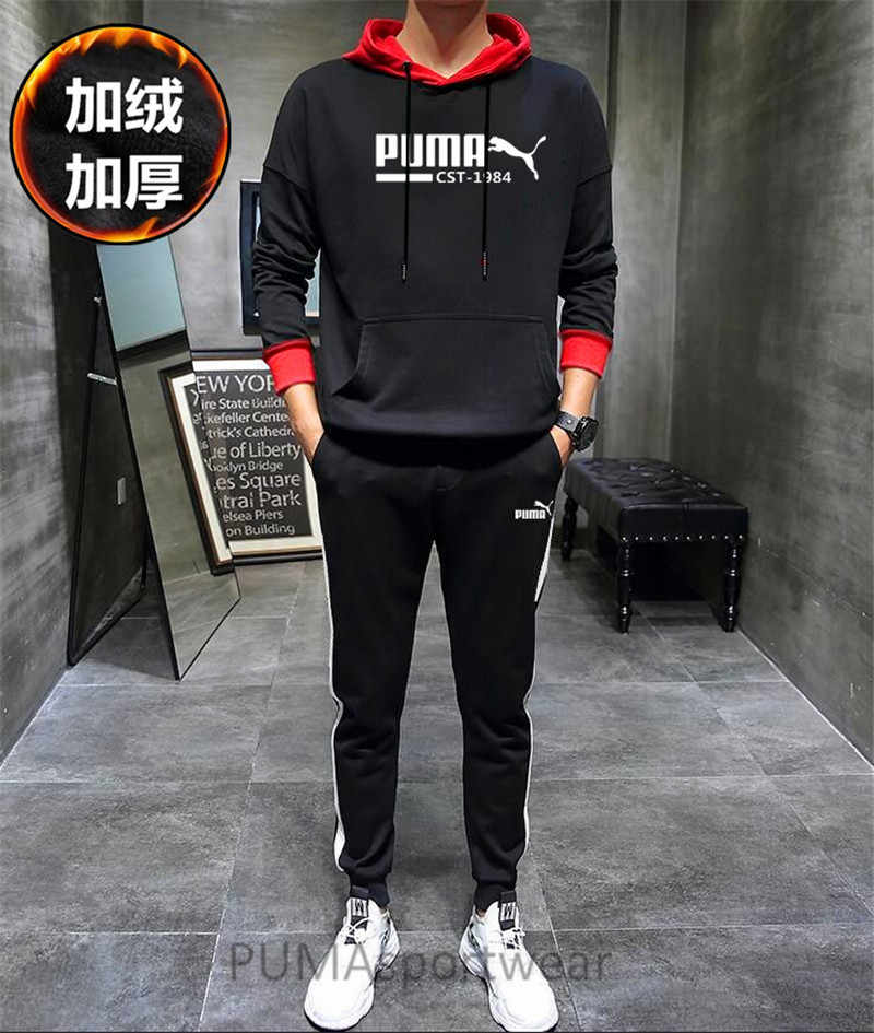 a2f3acefae35 New Arrival PUMA Classics Logo Men s and Women s Pullover Hoodies and Pants  Sweatshirt Set Sportswear Size