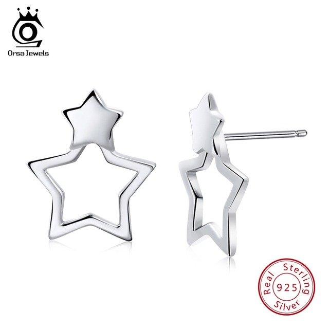 ORSA JEWELS Real 925 Sterling Silver Stud Earring For Women Unique Modeling Star Shape Fashion Earring Female Jewelry SE67