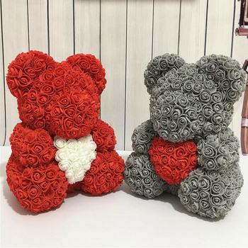 Artificial Rose Flower Teddy Bear DIY 40cm Foam Flower Bear with Heart Valentine's Day Gift Present For Wedding Party Decoration 1