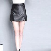 Autumn Women Winter PU Leather Shorts Skirts Female Casual Mini Skirt Ladies Mid Waist Black Short Pants Plus Size 4XL
