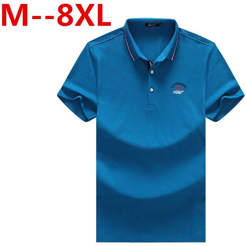 Plus size 10XL 9XL 8XL 6XL 5XL Men Polo shirt Solid Color Short Sleeve Slim Fit