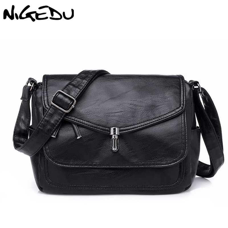 Soft PU leather women Messenger bag Female Shoulder bag black Flap Crossbody Bags for lady Casual handbags Multiple Pockets fabra fashion women messenger bags pu leather handbags korean style shoulder bag lady small casual shell crossbody flap bags