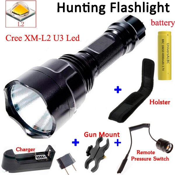 C8 2000 Lumen CREE XM-L2 LED 5 Mode Hunting Camp Flashlight for bike+  18650 battery+Gun Mount+Charger+Holster+Remote Switch кобура для молотка camp camp hammer holster