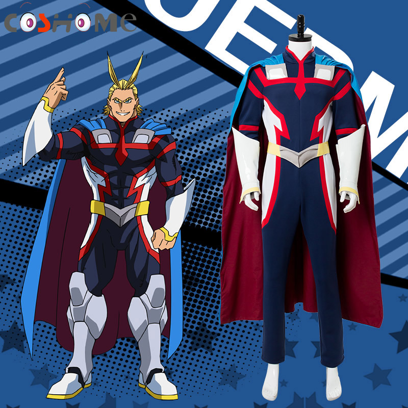 Coshome Boku no Hero Academia All Might Cosplay Costumes My Hero Academia Men Jumpsuit Cloak for Halloween Party