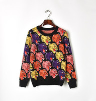Women Sweaters 2018 Fashion Autumn Female Wolf Printed Pullovers Vintage Chic Sweaters Casual Warm Winter Knitted Jumpers