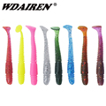 16pcs/lot fishing Lure 5cm 1g T tail Worms Soft Bait fishing lure with salt smell Grub Fishing tackle Artificial Silicone Lures