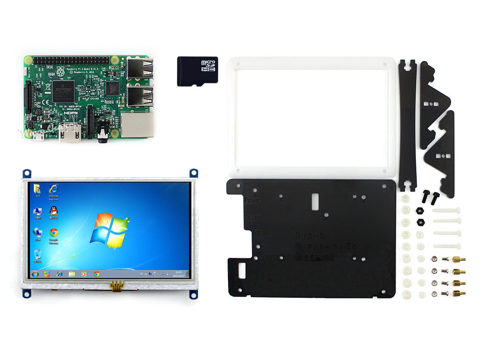 Parts RPi3 B Package E=Element 14 Raspberry Pi 3 Model B+5inch HDMI LCD (B) 800*480+Bicolor case+Micro SD card for Windows 10/8. цена