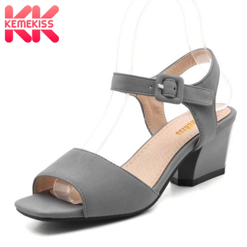 KemeKiss Size 31-47 Women's High Heel Sandals Women Ankle Strap Peep Toe Shoes Ladies Square Casual Sandals Female Footwear kemekiss gladiator women high heel sandals peep toe cros strap thin heel sandals summer party shoes women footwear size 35 40