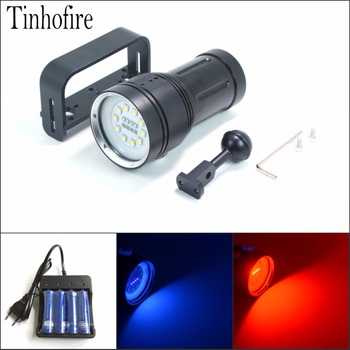 Underwater Video Light 10xL2 White Led+4x Red Led+4x UV/Blue Led Waterproof Diving LED Flashlight With Ball Mount and 4x Battery