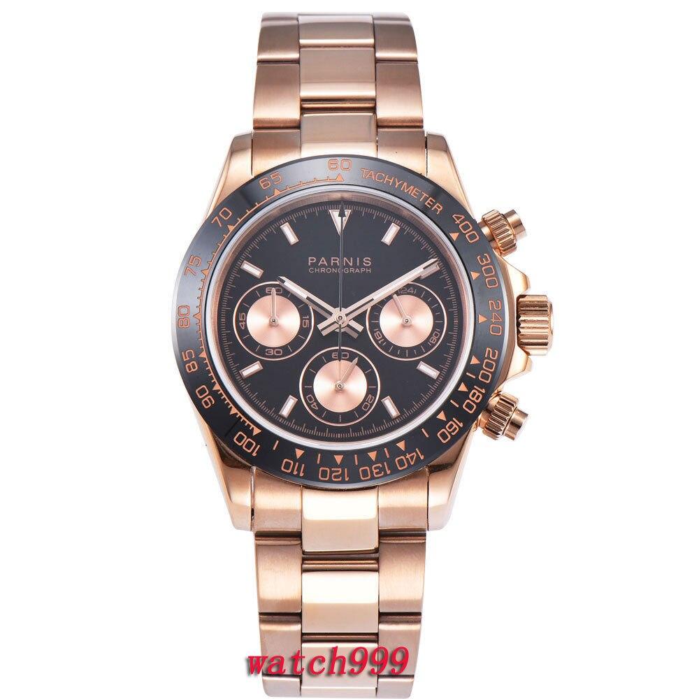 39mm PARNIS montre hommes horloge acier bracelet Lumineux Saphir Cristal Rose Boîtier en or plein Chronographe à quartz mens watch