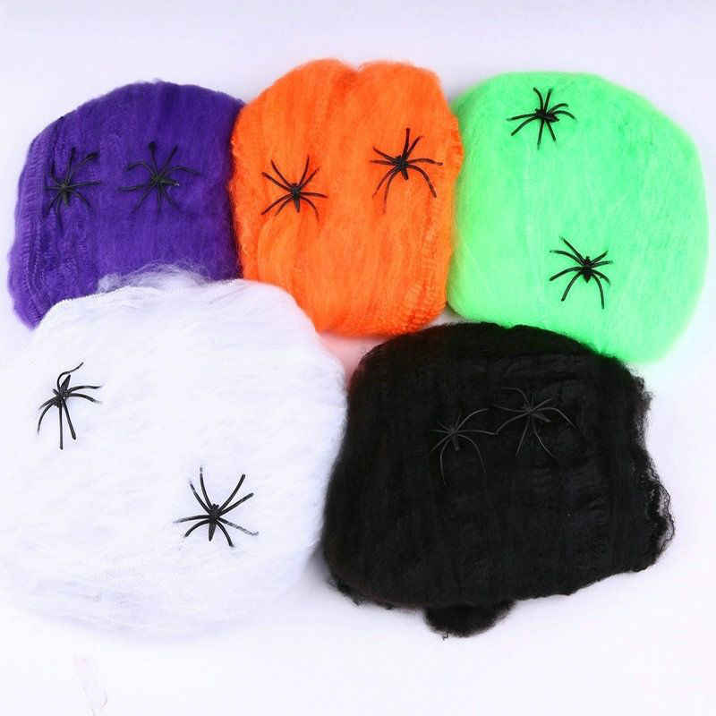 2016 Halloween Scary Party Scene Props Wit Stretchy Spinneweb Spider Web Horror Halloween Decoratie Voor Bar Spookhuis 70