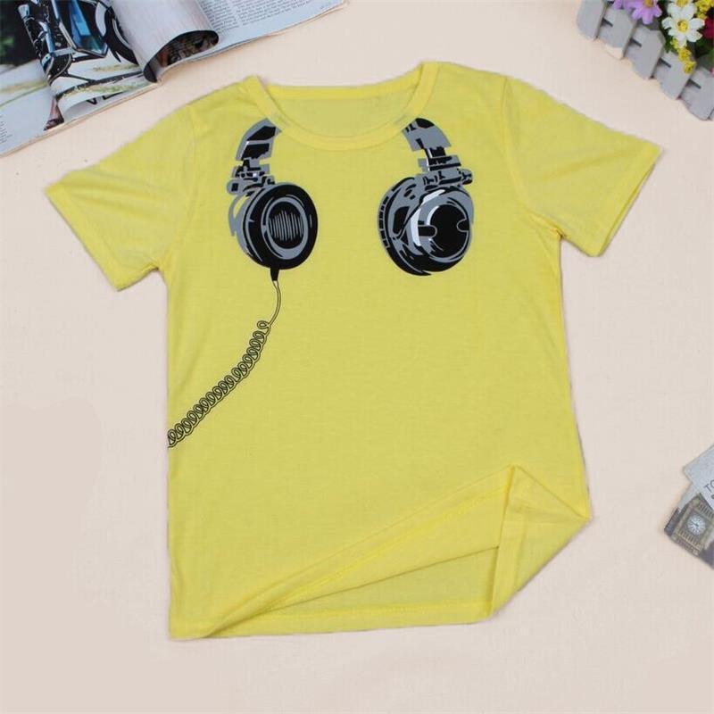 T-Shirt Boys Tops Short-Sleeve Kids Cotton Children New Tees Headphone-Design