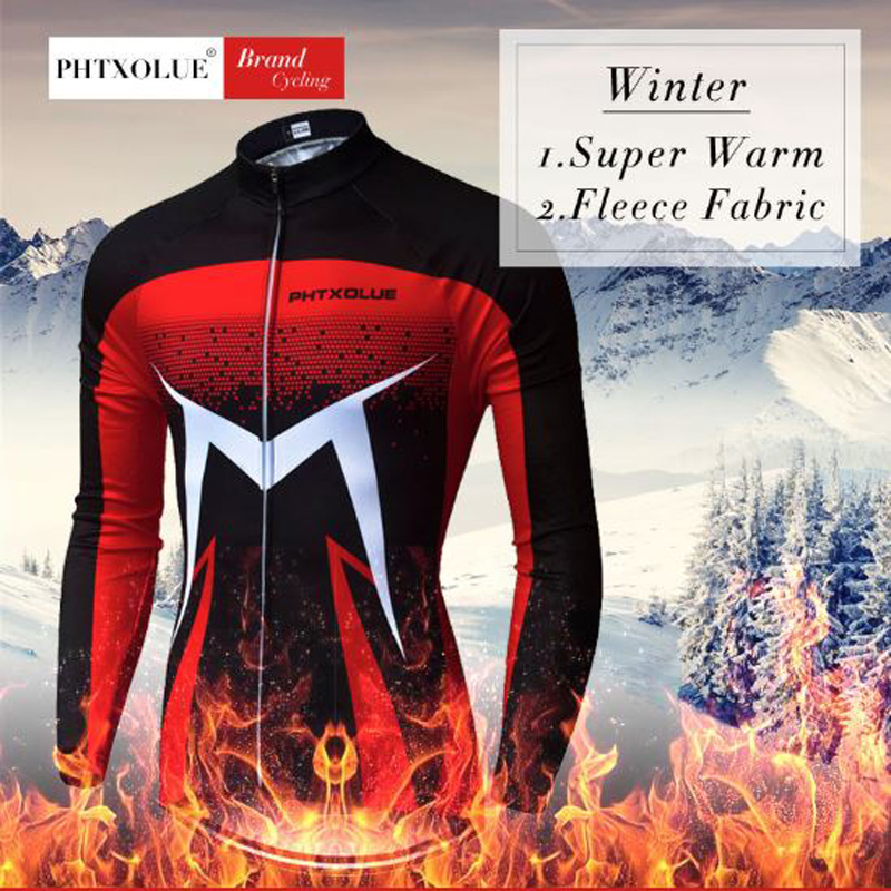 Phtxolue Pro Winter Thermal Fleece Cycling Jersey Set Maillot Ropa Ciclismo MTB Bicycle Clothes Wear Long Sleeve Bike Clothing in Cycling Sets from Sports Entertainment