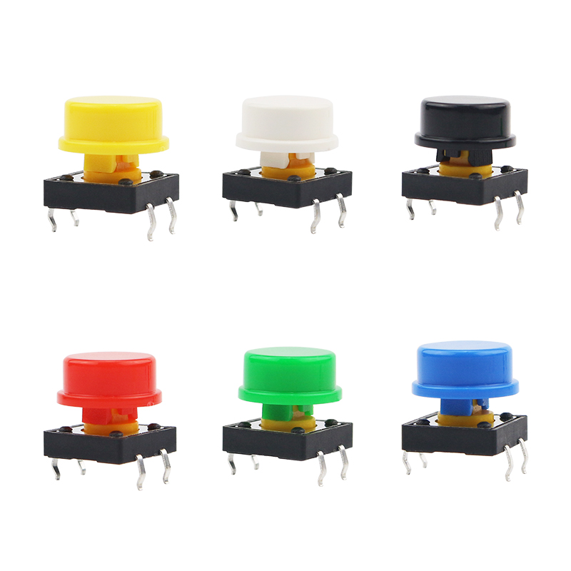 6pcs/lot 12*12*7mm Light Touch Switch Key DIP4 ON/OFF 4pin Touch ButtonMicro Switch + 6 Colors Switch Key Hat For DIY