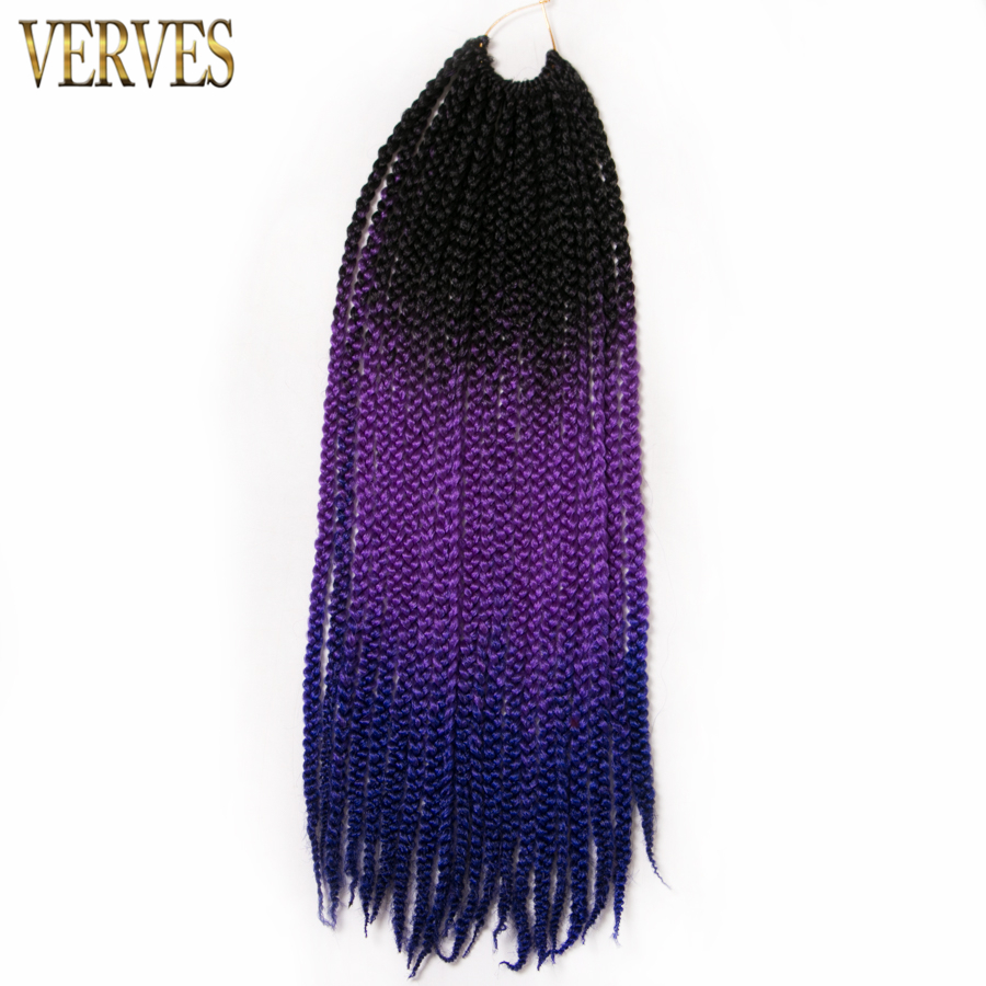 Box Braids Hair 20 inch 1 pack Crochet Hair Extensions 20 roots/pack VERVES 100g/pack ombre braiding hair free shipping