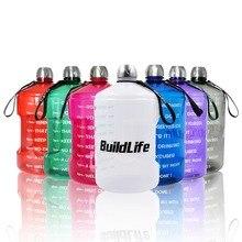 زجاجات مياه من طراز بيلدلايف بسعة 1 جالون مزودة بعلامة زمنية 3.78L/2.2L/1.3L 128 أونصة/73 أونصة/43 أونصة إبريق ماء من البلاستيك خالي من مادة BPA سعة كبيرةزجاجات ماء