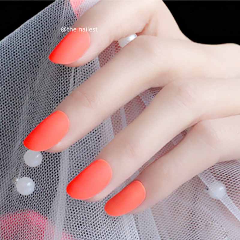 24pcs Rounded Frosted Orange Fake Nails Matte Short Oval ...
