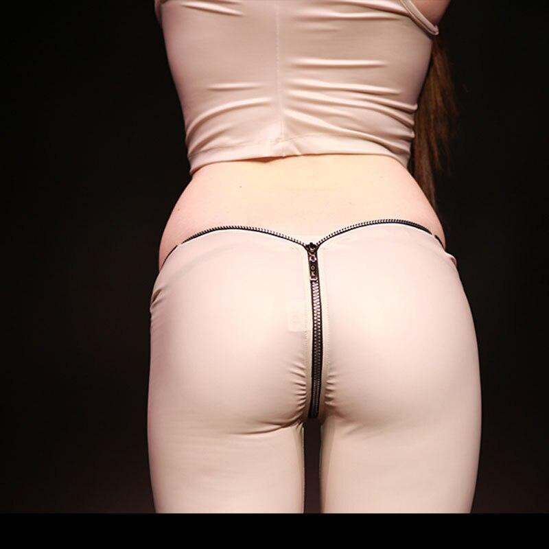 Glazed Leather Latex Shiny Zip Low Waist Pantyhose Women Sexy Capris S XXL Oversize Moto Biker Trousers Club Stage Shiny Legging