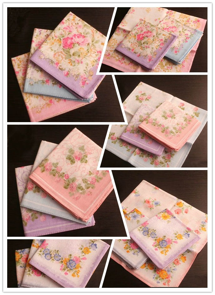 Women 3Pcs//Lot Cotton Flowers Cat Girl Ladies Pocket Square Hankerchief Hanky