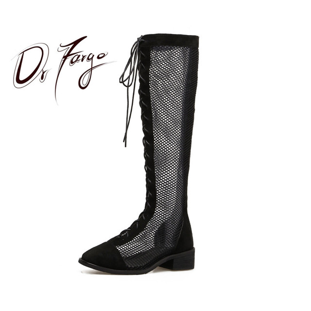 Drfargo Women Summer Long Boots Network Lace Up Air Mesh Fashion