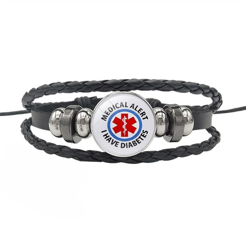 Diabetic Awareness Alert Charm Real Black Leather Wristband Bracelet Diabetes