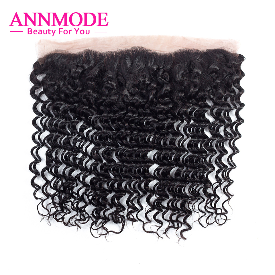 ФОТО Annmode Brazilian Deep Wave Lace Frontal Closure 13x4 Remy Human Hair Closure Free Shipping