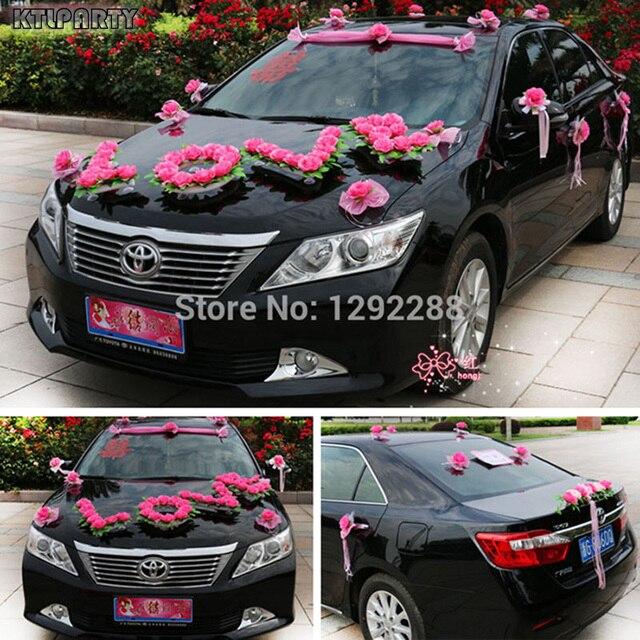 Kunstliche Blumen 1 Satz Los Rot Rosa Hochzeit Auto Blume Dekoration
